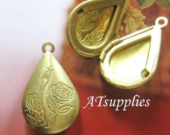 Brass tear drop rose locket - 4 pcs (LT-012)