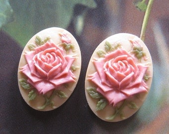 24mm - Vintage oval rose cameo/cabochon - 2 pcs (CA040-B)