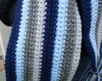 Blue and Grey Crocheted Scarf