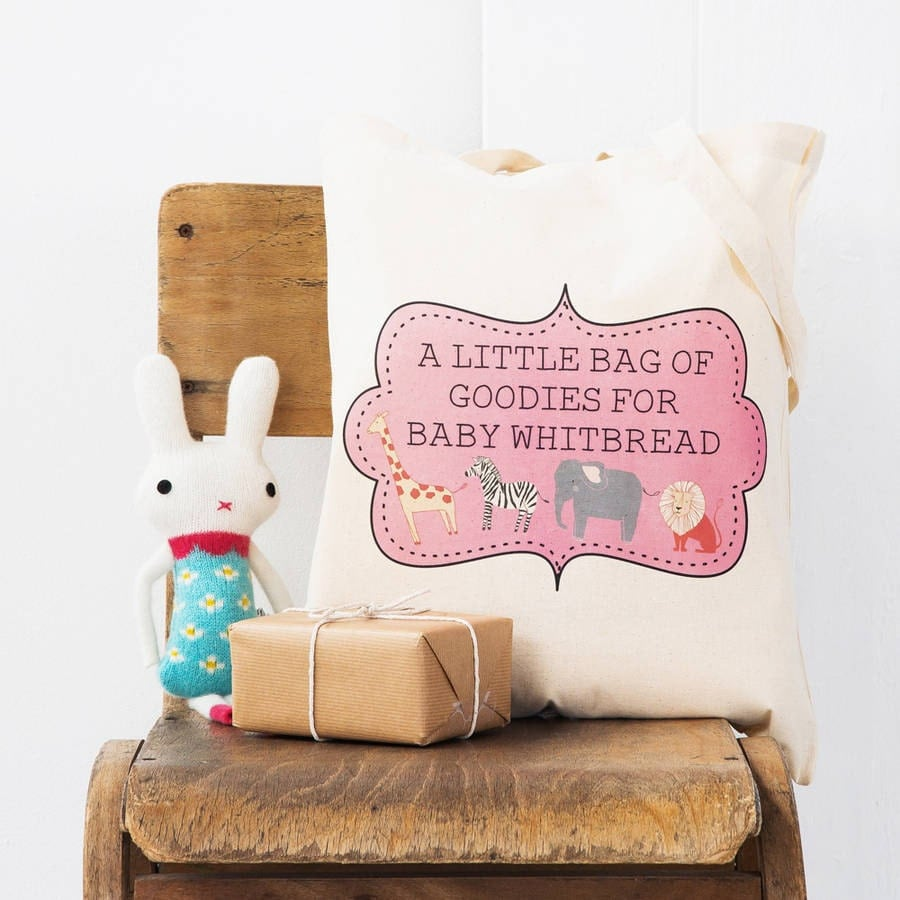 baby shower gift bag personalised baby shower by loubrowndesigns