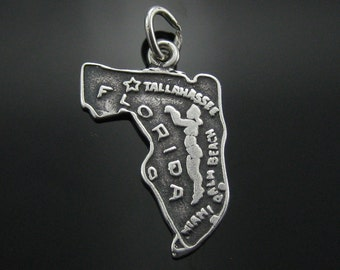 Charm, Sterling Silver, State Cut Out, Florida, Travlers Charm, Tallahassee, Palm Beach, Vacation Jewelry