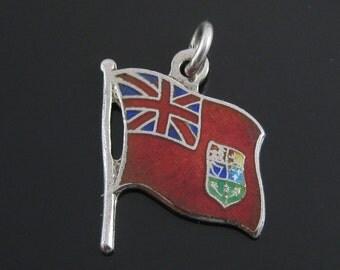 Charm, Sterling Silver, Enameled, British Flag, BMCO Charm, Travelers Charm