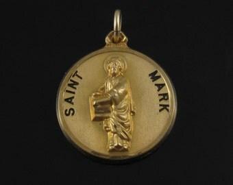 Vintage 1-20th 12K Gold Filled Creed Saint Mark Pendant Charm