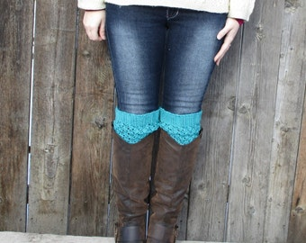 Turquoise Boot Cuffs - SALE 50% OFF - Women's Leg Warmers - Knitted Boot Toppers - Warm Boot Socks - Knit Accessories