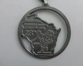 VINTAGE 1979 national square dance convention WISCONSIN pendant NECKLACE