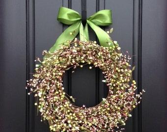 Berry Wreath, Wreaths, Spring Wreath Door Decor, Spring Berry Wreath, Easter Wreaths, Country Berry Wreath, Pip Berry Wreath, Wreaths
