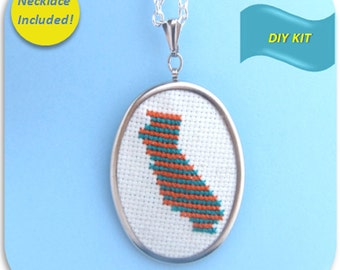California State Necklace - Cross Stitch DIY Kit, Embroidery Pattern, Embroidery Design, Cross Stitch Pattern, Embroidery DIY Kit