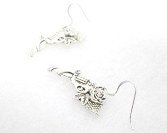 Guns and Roses Metal Charm Earrings