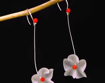 Large white lucite flower earrings