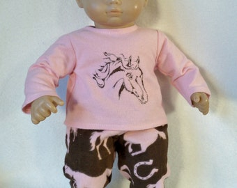 15 inch Doll Flannel Horse Pajamas with Feet