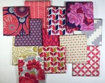 FLORA Red/Purple Fat Quarter Bundle Joel Dewberry for Free Spirit Fabrics 12 pcs   //  US Shipping 5.75 dollars