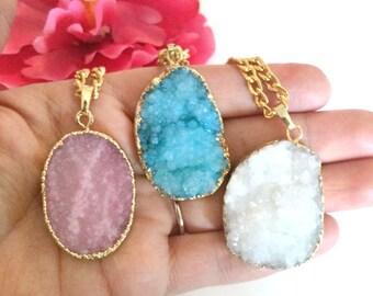 druzy agate pendant - statement necklace - druzy necklace - druzy charm - bohemian chic jewelry