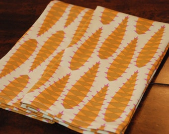 Cloth Dinner Napkins - Golden Yellow Aloe Stems - Modern Eco Friendly - Set of 4 - Eco Chic Fall Entertaining - Gifts Under 30