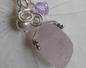 Sea Glass Necklace - Lavender Sea Glass Pendant Jewelry - Beachglass Necklace Pendat Jewelry