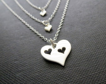 Mother daughter jewelry, mom & two daughters necklace, gift for mom of 2, sterling silver heart, mother and children