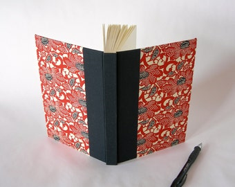 Blank book journal unlined - 6x8.5in 15x22cm - black and red peony chiyogami- Ready to ship