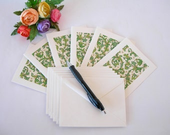 Italian paper -six blank note cards - all one pattern- green Italian Florentine- Ready to ship