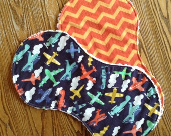 Flannel and Chenille Burp Cloths, Bright Airplanes on Navy, Orange Chevron