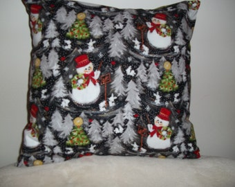 Holiday Snowmen Pillow Covers - Set of 2