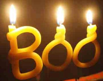 Halloween candle - beeswax -BOO - Halloween cupcake topper -halloween decor -scary cake topper - Halloween fun