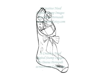 SALE Instant Digital Stamp Image Vintage Christmas STOCKING With Gifts