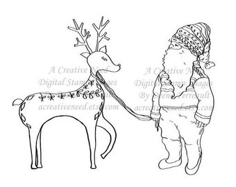 INSTANT DOWNLOAD Christmas Deer and Gnome (Tomte), Digital Stamp Image Supply for Cards, Scrapbooking, ATCs, Mixed Media Art