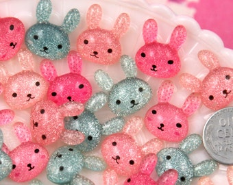 19mm Little Shimmer Bunny Flatback Acrylic or Resin Cabochons - Rose, Pink and Blue - 9 pc set