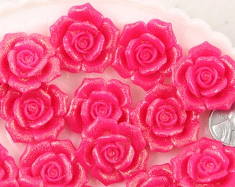 Flower Resin Cabochons - 28mm Beautiful Bright Pink Glitter Rose Flatback Resin Cabochons, Large Size - 5 pc set