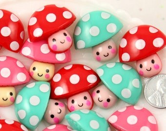 Kawaii Resin Cabochons - 30mm Super Cute Chunky Polka Dot Mushroom Guys Kawaii Resin Cabochons - Red, Pink and Aqua Blue - 6 pc set