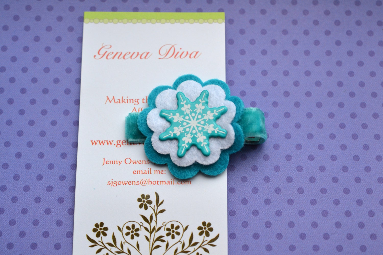 Turquoise Enamel Snowflake Stacked Felt Flower Clip