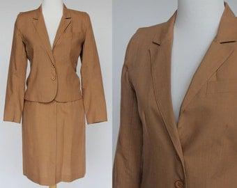 70's Linen Look Suit / Skirt & Jacket / Belted Skirt / Tan / XSmall