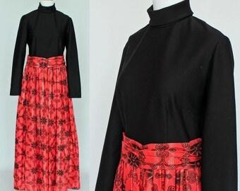 60's Maxi Dress / Black Bodice with Orange Print Skirt / Small to Medium