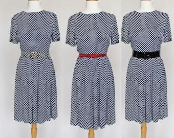 SALE - 60's Gathered Skirt Dress / Matching Belt / Navy and White Checks / Short Sleeves / Small
