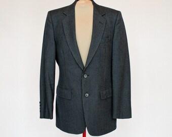 70's Mens Wool Sport Coat /  Denim Pin Stripe / Slate Gray / Size 40R