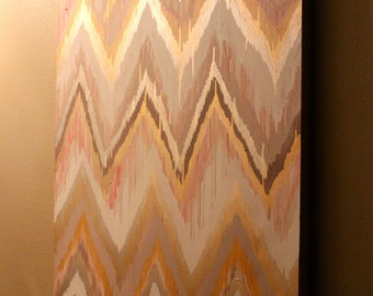 Original ikat chevron Delightful 30x40 Painting by Jennifer Moreman