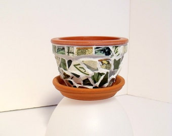 "Mosaic Tiny 3"" Flower Pot  Green"