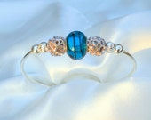 Carolina Panthers colors-Blue and Black Glass Bead and Silver Bracelet Cuff, sterling silver, glass beads
