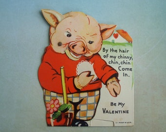 Vintage Three Little Pigs Mechanical Pig Valentine