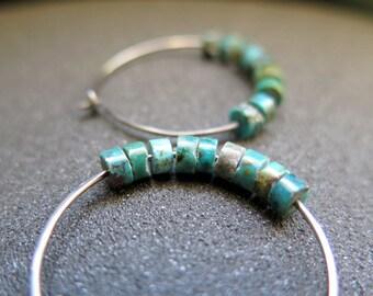 turquoise earrings. hypoallergenic silver hoops. December birthstone.