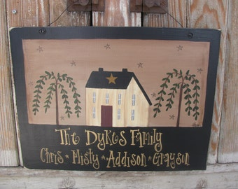Primitive Saltbox House with Willow Trees Family Hand Painted Personalized Wooden Sign GCC04041