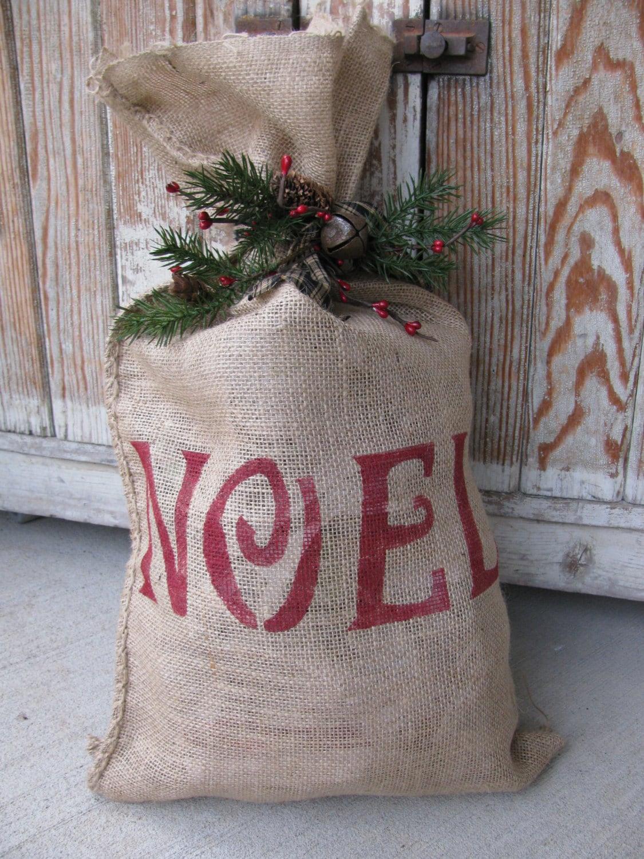 Primitive burlap winter saying sack with winter decoration for Burlap bag craft ideas