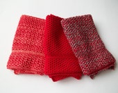 Dish Cloths Knit in Cotton in Red, Red/BlackMarl and Red/Apricot, Wash Cloth, Knit Washcloth, Dish Cloth