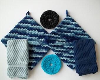 Knit Dish Cloths, Crochet Pot Holders and Nylon Net Scrubbie Gift Set in Shaded Dusk