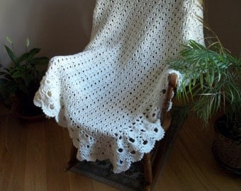 Lacy Crocheted Afghan, Blanket, Throw in Winter White