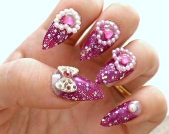 Stiletto nails, gyaru, hime, purple nail, bows, heart, acrylic nail, press on nails, Japanese 3D nails, hime gyaru style, pointy nails