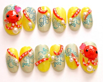 Octopus, 3D nails, fake nails, tako, tentacles, funny nail, geekery nail, Japanese nail art, press on nail, acrylic, animal nail, ongles