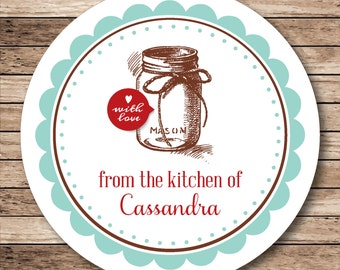 From the Kitchen Of Mason Jar . Personalized Stickers or Tags