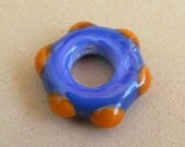 Orange and Blue Big Hole Bead, handmade Lampwork by HarleyPaws, SRA, University of Florida Colors