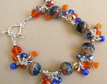Lampwork Beaded Charm Bracelet, orange and Blue, University of Florida, Handmade by Harleypaws