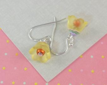 Tween Girls Earrings Yellow Tulip Earrings   --  Buttercup  --
